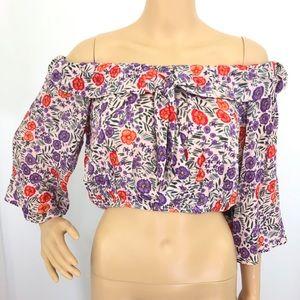 Lulus Floral Off Shoulder Crop Top Size Large NWOT